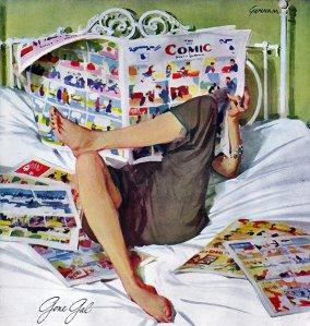 John Gannam,(EUA 1907-1965) -- aquarela e gouache, anúncio para lençóis.