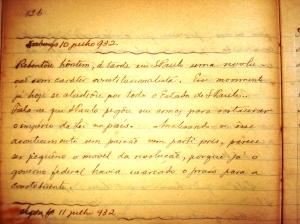 10 de julho de 1932, página do diário de Gessner Pomp�lio Pompêo de Barros, Itapetininga, SP