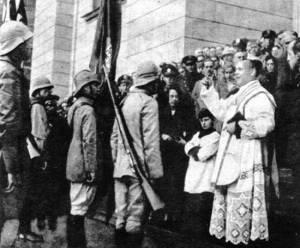 Soldados abençoados antes da partida.  Revolução Constitucionalista.