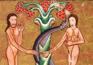 Adão e Eva Iluminura, Manuscrito Hunterian 209, séc. XII Universidade de Glascow, Escócia.