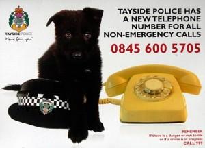 Cartão postal da Pol�cia de Tayside, Escócia.