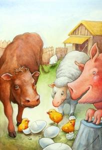 Animais da fazenda, ilustração de Steve Morrison