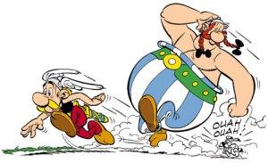 Astérix e Obélix, os heróis gauleses.