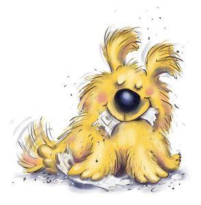 Cachorrinho faminto.  Ilustração de Paula Becker.