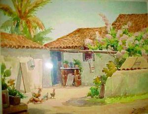 Cena de interior, 1891; Armando Vianna (Brasil 1897-1992) aquarela
