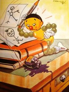 João Bolina não quer estudar  -- Ilustração de Rodolfo