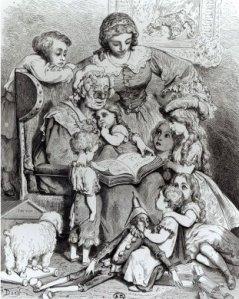 Vovó contando histórias.  Ilustração de Gustave Doré (França 1832 - 1883)