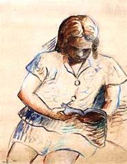 Tarsila do Amaral (Brasil 1890-1973) Beatriz lendo, 1965, óleo sobre tela.