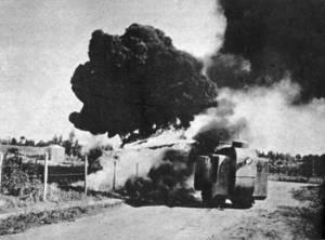 Ataque de carro blindado das forças constitucionalistas.