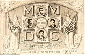 Cartão Postal com as iniciais dos 4 mártires da Guerra de '32.