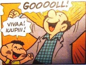Gol!  Ilustração Mauricio de Sousa.