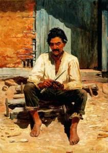 José Ferraz de Almeida Júnior, (Brasil 1850-1899), Caipira picando fumo, 1893, ost, Pinacoteca do Estado de São Paulo
