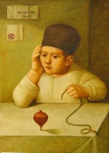 REYNALDO FONSECA (1925) O Pião – Óleo s/ tela – 70 x 50 cm – ass. sup. esquerdo e verso 2002.
