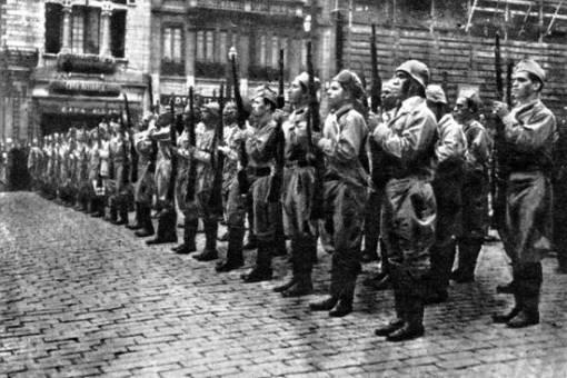 Apresentação de armas dos voluntários na capital.