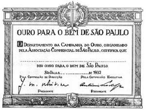 Certificado de doação voluntária de metal precioso para a luta!