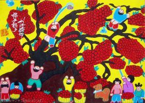 A colheita dos caquis, aquarela de Feng Tao Liu, na exposição.