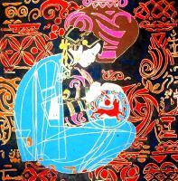 Pintando a porcelana, de Li Zhimimng, na exposição.