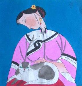 Mulher com gato no colo, da pintora Feng Ying, na exposição.