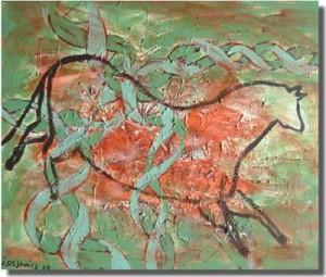 Jacques Deshaies, 02 DNA, Pintura na Caverna número 21,  30 x 25 cm, acrilico sobre tela.