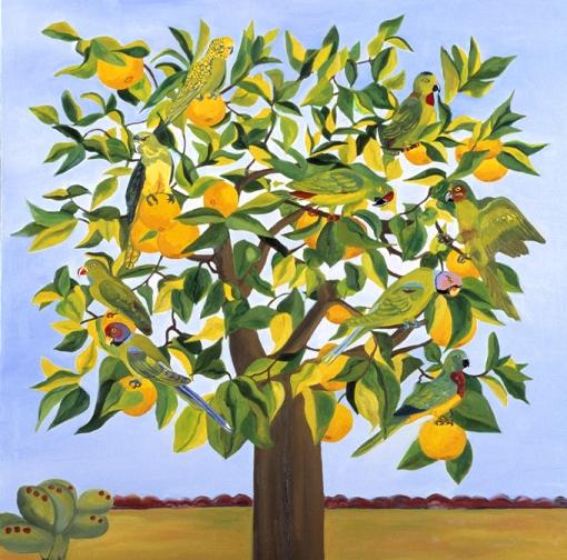 9 Papagaios numa laranjeira, s/d, Lucy Autrey Wilson, óleo sobre tela, 1 x 1 m