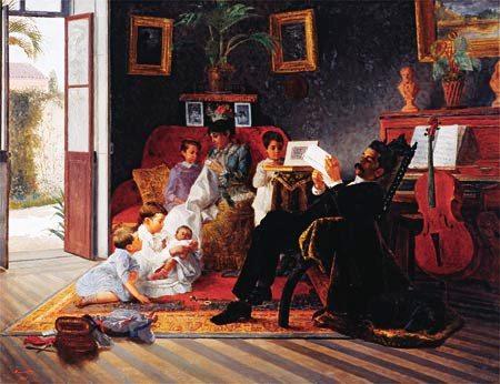José Ferraz de Almeida Júnior, (Brasil 1850-1899) Familia reunida em casa do interior