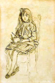 Bertha Worms (Brasil 1868-1937) Menina com livro, desenho