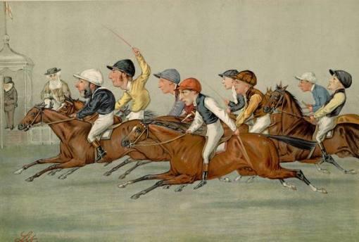 Ilustração de 1888, Inglaterra, Corrida de cavalos