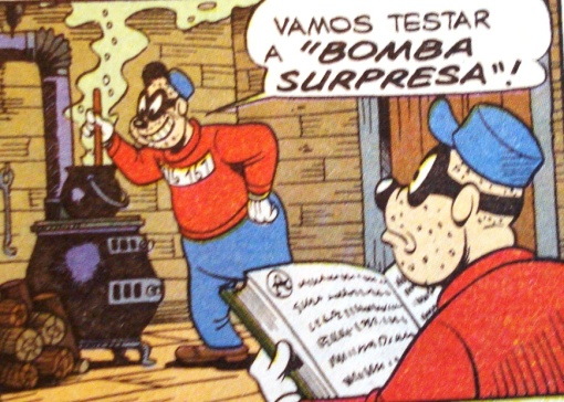 Irmãos Metralha lendo.  Ilustração Walt Disney.