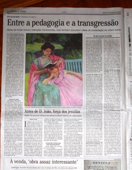 Página 2 do Caderno Prosa e Verso do Jornal O GLOBO