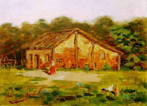 Edgard Oehlmeyer(1905-1967)Paisagem,1944osm, 35x44cm