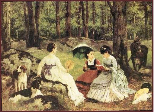 noel-saunier-franca-1847-1890-cena-de-leitura-numa-clareira-1871