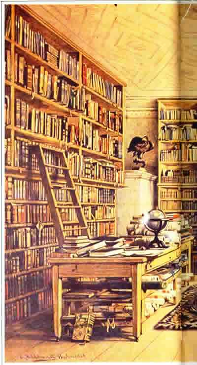 biblioteca-eduard-hildebrandt-alemanha-1818-1869-detalhe-da-aquarela-da-biblioteca-de-humboldt1856