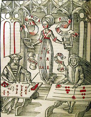 aritimetica, ilustração da Margarita  Philosophica, 1503, Boetius, romano, (475-524)e Pitagoras, grego, (570 BC-475BC) II