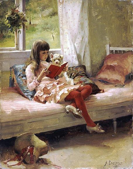edelfelt-good friends, retrato de sua irmã, Bertha, 1881, osm, 41 x 31,5cm Hermitage, Sao Peterburgo