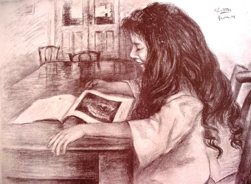 H Esteves, menina que lê, 1904, Rio de Janeiro, desenho