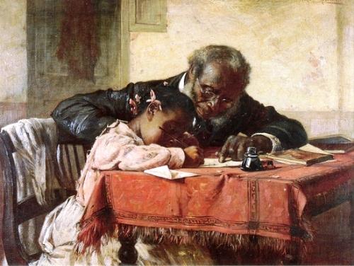 Harry Herman Roseland (EUA 1868-1950) The Writing Lesson