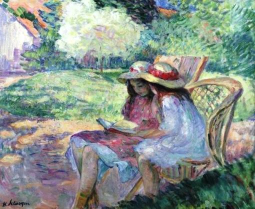 Henri Lebasque (1865-1937) França, Jeune filles lisant au parc, ost,