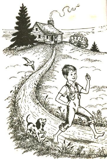 Menino correndo cachorrinho