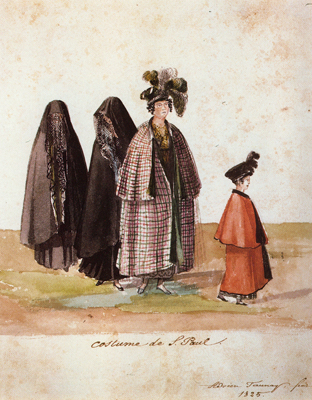 Trajes paulista 1825, aquarela e nanquim, 22 x 18 cm, acad ciencias são petersburgo, russia