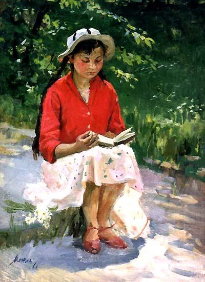 A Mozhaev (Russia)  Menina com tranças, 1961,ost,67x49 Escola de Leningrado
