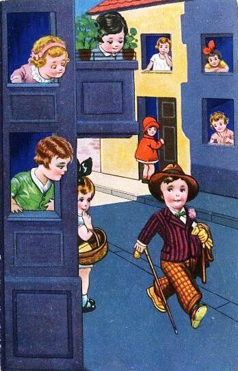 Menino, com toda elegância, cartão Postal, 1929