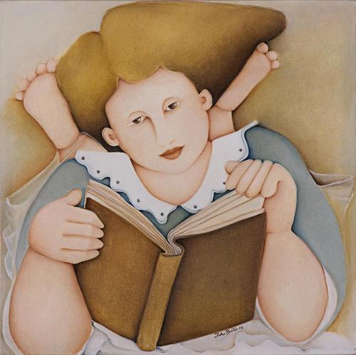 Inha Bastos (Brasil, 1949) Menina lendo, 2008, ost, 50x50