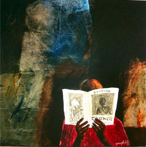 Yusuf Arakkal (Índia, 1945) Paper reading, óleo sobre tela,120 cm x 120 cm