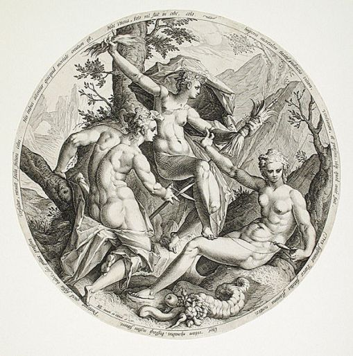 As Parcas, 1587, Jocob Matham, (Holanda,  1571-1631)Gravura em metal, Museu de Arte do Condado de Los Angeles, EUA