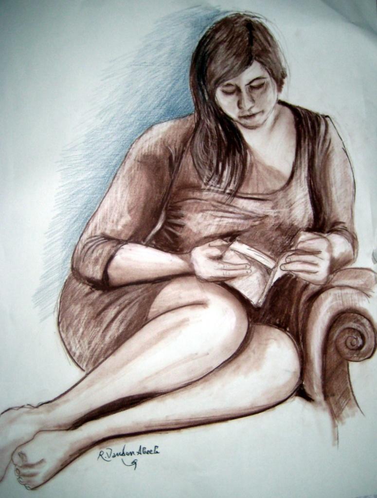 moça lendo, desenho