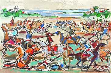 Carybé, batalha de Piraja, projeto para mural