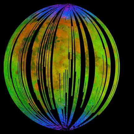 dados da Nasa mostram evidencia de moleculas dagua na lua, azul maior concentração