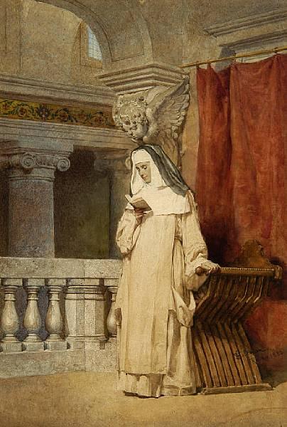 Freira lendo no interior de igreja, Enrico Coleman (Itália 1846-1911)