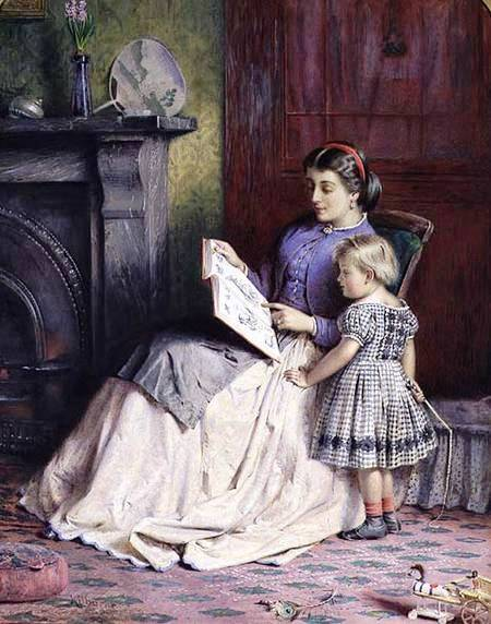 George Goodwin Kilburne (Grã Bretanha - 1839-1924) Mother and daughter