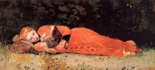 the_new_novel-by-winslow-homer (EUA 1836-1910) 1877, aquarela sobre papel, Museum of Fine arts, Springfield, Mass